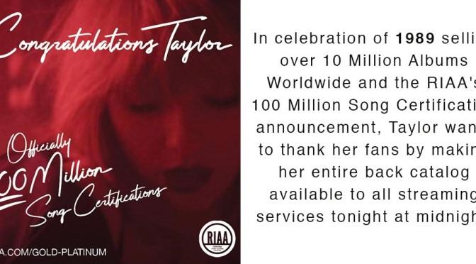 Taylor Swift torna su Spotify!
