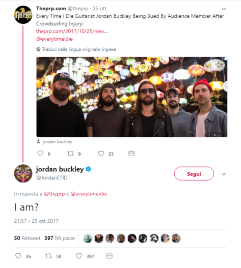 jordan buckley every time i die sued crowdsurfing injury