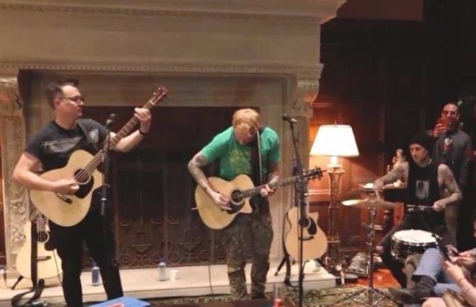 Guarda i blink 182 suonare nel soggiorno di Steve Aoki